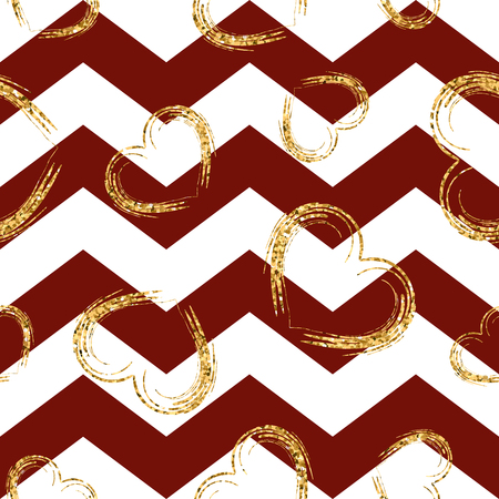 Golden sketch hearts seamless pattern  Gold glitter and red zigzag
