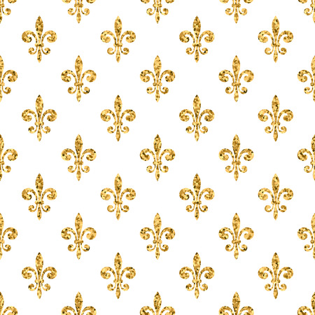 Illustration for Golden fleur-de-lis seamless pattern. Gold glitter and white template. Floral texture. Glowing fleur de lis royal lily. Design vintage for card, wallpaper, wrapping, textile, etc. Vector Illustration. - Royalty Free Image