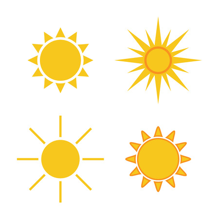 Illustration for Sun icons set. Collection light yellow signs with sunbeam. Design elements, isolated on white background. Symbol of sunrise, heat, sunny and sunset, morning, sunlight. Flat style. Vector Illustration. - Royalty Free Image