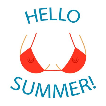 T shirt typography graphics Hello summer. Sexy bust silhouette. Woman erotic breast in bra with silhouette teats. Cartoon fashion model body. Symbol of holiday, vacation, travel. Vector illustration