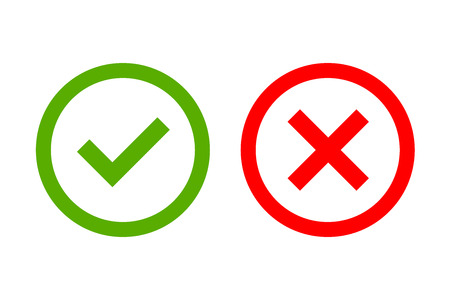 Illustration for Tick and cross signs. Green checkmark OK and red X icons, isolated on white background. Simple marks graphic design. Circle shape symbols YES and NO button for vote, decision, web. Vector illustration - Royalty Free Image