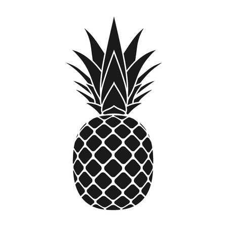Illustration for Pineapple with leaf icon. Tropical fruit isolated on white background. Symbol of food, sweet, exotic and summer, vitamin, healthy. Nature dessert. Flat concept. Design element Vector illustration - Royalty Free Image