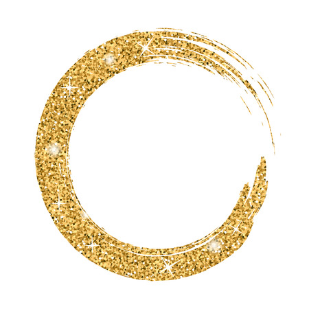 Illustration for Grunge background circle gold on white. Sketch to create border. Round shape texture for banner. Golden effect. Vintage artistic graphic. Smear print copy space. Vector illustration - Royalty Free Image
