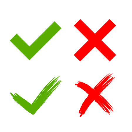 Illustration pour Tick and cross grunge and simple signs. Green checkmark OK and red X icons, isolated on white background. Marks design. symbols YES and NO button for vote, decision, web. Vector illustration - image libre de droit