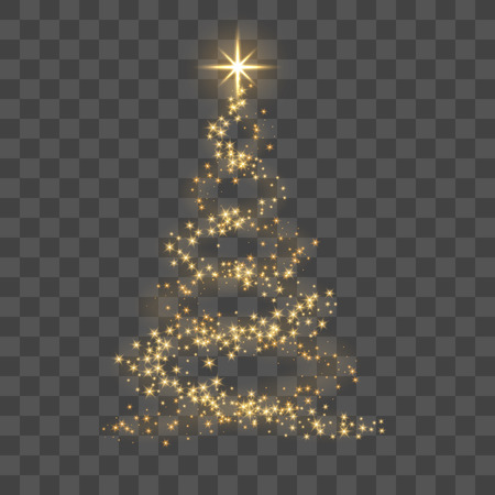 Ilustración de Christmas tree on transparent background. Gold Christmas tree as symbol of Happy New Year, Merry Christmas holiday celebration. Golden light decoration. Bright shiny design Vector illustration - Imagen libre de derechos