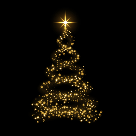 Ilustración de Christmas tree card background. Gold Christmas tree as symbol of Happy New Year, Merry Christmas holiday celebration. Golden light decoration. Bright shiny design Vector illustration - Imagen libre de derechos