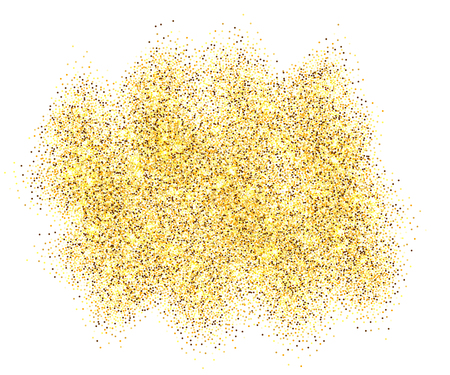 Illustration for Gold glitter sand frame isolated on white background. Golden texture confetti, sequins, dust spray. Bright pattern design for New Year decoration, Christmas holiday celebration Vector illustration - Royalty Free Image