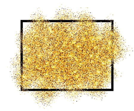 Illustration for Gold glitter sand in black frame isolated white background. Golden texture confetti, sequins, dust spray. Bright pattern design New Year decoration, Christmas holiday celebration Vector illustration - Royalty Free Image
