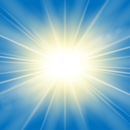 Illustration pour Sun rays. Starburst bright effect, isolated on blue background. Gold light star flash. Abstract shine beams. Vibrant magic sparkle explosion. Glowing burst, lens effect Vector illustration - image libre de droit