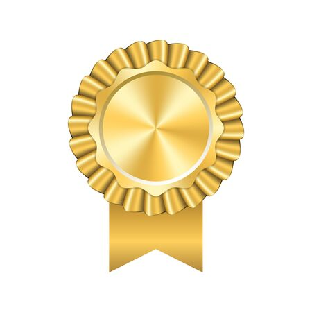 Illustration pour Award ribbon gold icon. Golden medal design isolated on white background. Symbol of winner celebration, best champion achievement, success trophy seal. Blank rosette element Vector illustration - image libre de droit