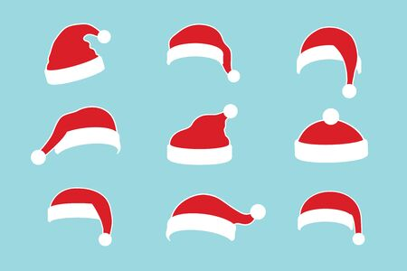 Illustration for Santa Claus hat flat set. Realistic Santa Claus hat isolated blue background. Red funny cap silhouette. Merry Christmas clothes cute cartoon design. New year decoration costume Vector illustration - Royalty Free Image