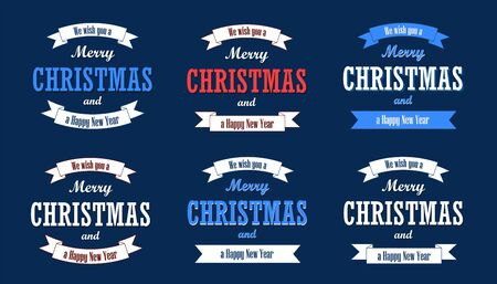 Photo pour Christmas text, white ribbon set. Merry Christmas and Happy New Year wishes isolated blue background. Design for banner, label, holiday message, postcard. Retro vintage decoration Vector illustration - image libre de droit