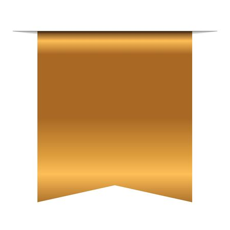 Illustration pour Gold bookmark banner 3D. Vertical book mark, isolated on white background. Color golden tag, label. Flag symbol, sign. Design element blank. Empty sticker sale. Template banner Vector illustration - image libre de droit