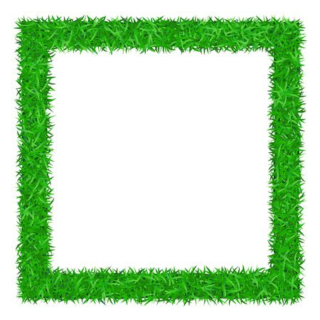 Illustration pour Green grass frame 3D, isolated on white background. Lawn greenery nature. Abstract texture empty border. Ground landscape pattern Grassy design. Ecology environment. Grow meadow Vector illustration - image libre de droit
