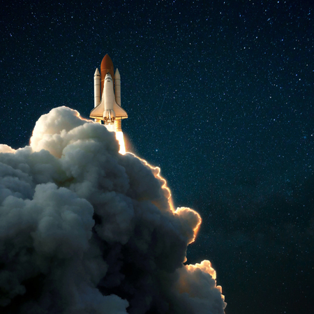 Photo for Space rocket shuttle takes off into the starry sky, Spaceship explores space - Royalty Free Image
