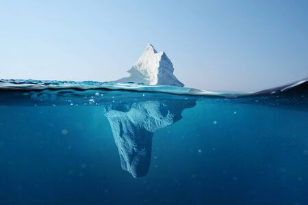 Photo pour Iceberg in the ocean. Beautiful view under water. Global warming. Melting glacier. Hidden Danger Concept - image libre de droit