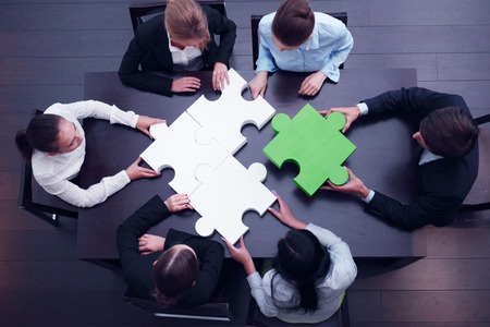 Photo for business team solving puzzle concept - Royalty Free Image