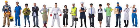 Photo pour Full length portrait of group of people representing diverse professions of business, medicine, construction industry - image libre de droit