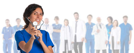 Photo pour Healthcare and medical concept - group of doctors isolated on white background, woman withc stethoscope pointing to you - image libre de droit