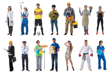 Photo for Collage set collection of people with various occupations professionals standing isolated on white background - Royalty Free Image