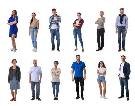 Photo pour Set of trendy casual people isolated on white background - image libre de droit