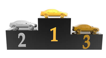 luxury expensive car on podium isolated on a white