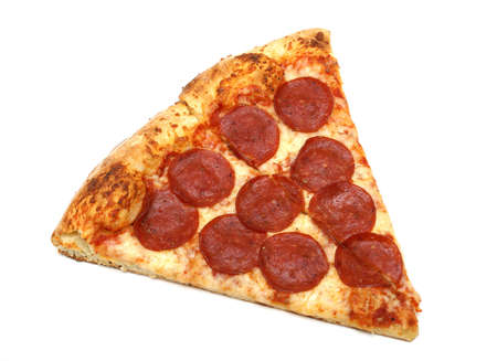 A slice of pepperoni and cheese pizza.