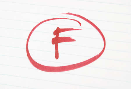 An F is given to a student for poor work.