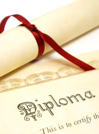 A diploma over white represents a high achieving student.