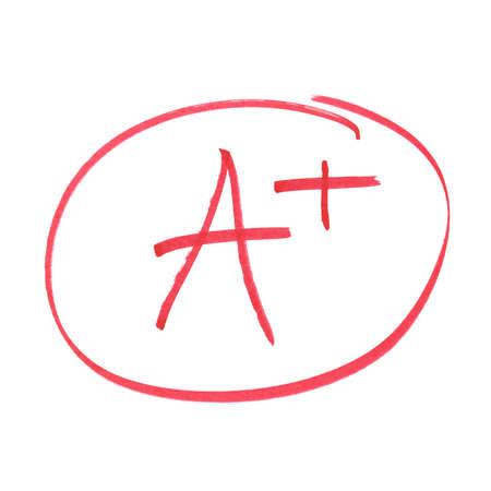 A handwritten grade for the highest achievements.