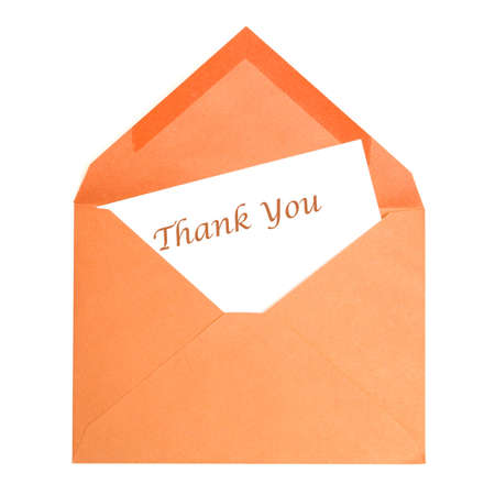 An isolated thank you card that has been opened by its receiver.