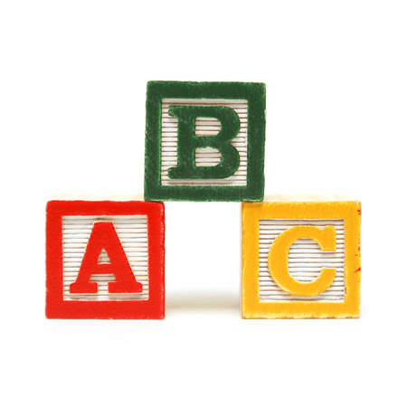 Photo pour Three alphabet blocks for the young mind to learn the english language. - image libre de droit
