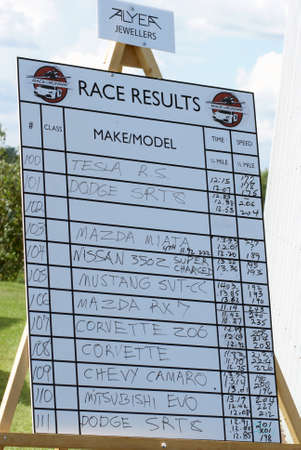 Foto de SMITHS FALLS, ON, CANADA - AUGUST 23, 2014.  Race results from the third annual Race the Runway event held at the Russ Beach Airport, in Smiths Falls, Ontario, Canada, on August 23, 2014. - Imagen libre de derechos