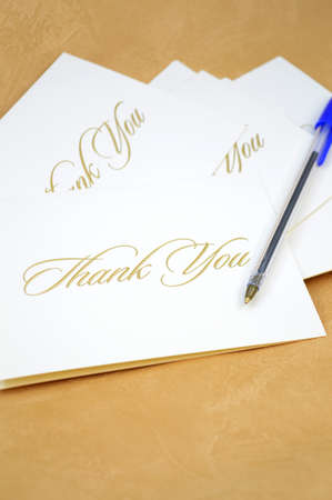 Photo for A closeup view of some thank you cards being sent to show appreciation. - Royalty Free Image