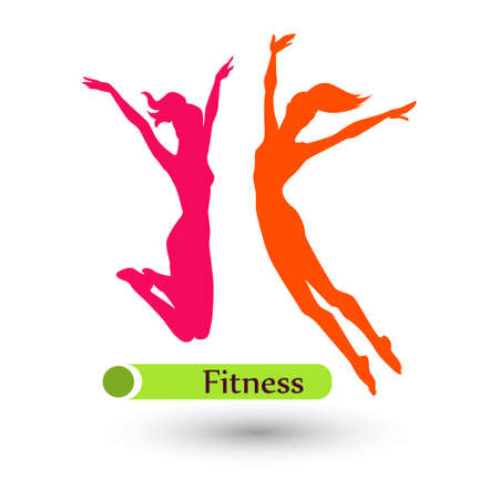 Color fitness women on the white background