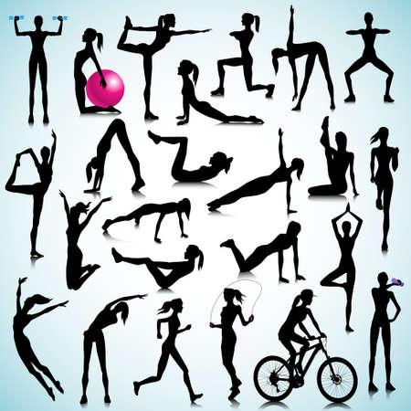 Ilustración de Sport silhouettes of women  - Imagen libre de derechos