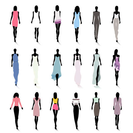 Set of female fashion silhouettes on the runway