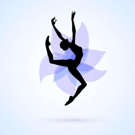 Illustration pour Female silhouette dancing on abstract flower background - image libre de droit