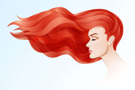 Portrait of beautiful woman with long red hair