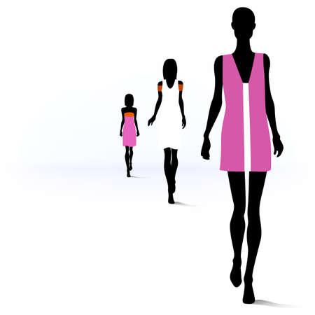 Ilustración de Set of female fashion silhouettes on the runway - Imagen libre de derechos