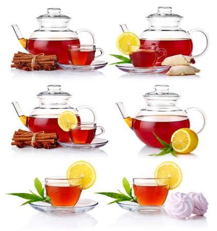 Photo pour Set of teapot with black tea isolated on white background - image libre de droit