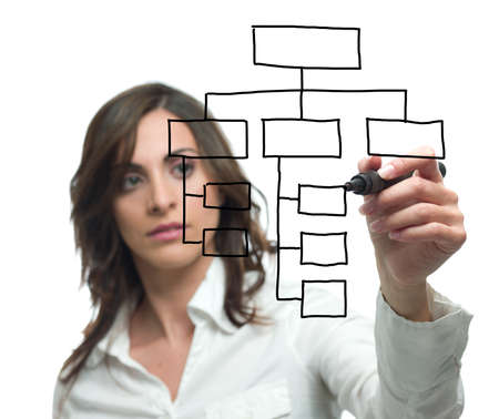 Foto de Businesswoman draw organization chart - Imagen libre de derechos