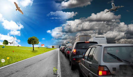 Diffference between car pollution and green environment