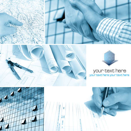 Photo for Business architect collage with blank space for your text - Royalty Free Image