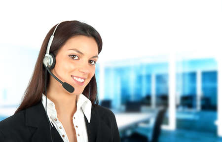 Smiling girl works in a call center