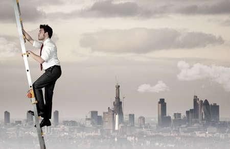 Photo pour Difficult career of a businessman - image libre de droit