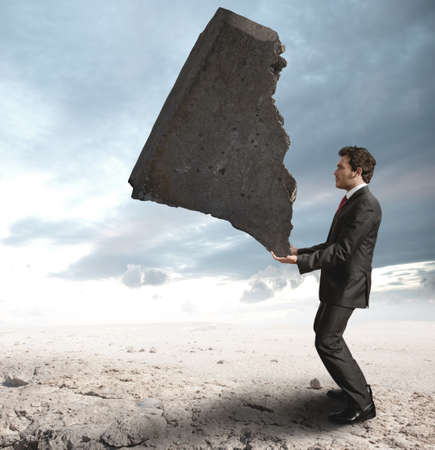 Concept of a businessman that challenges the difficulties