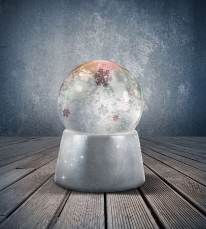 Glowing snow sphere in a vintage room