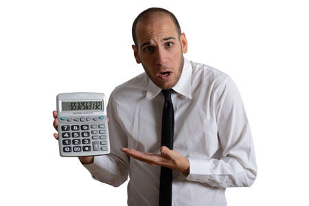 Tax and crisis concept with businessman and negative number