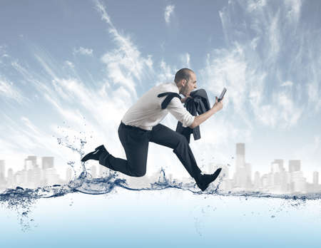 Concept of of stress with businessman running on the water